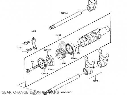 Kawasaki Kz1000r1 Eddie Lawson Replica 1982 Usa Canada Gear Change Drum  Forks