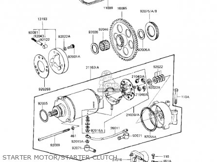 Kawasaki Kz1000r1 Eddie Lawson Replica 1982 Usa Canada Starter Motor starter Clutch