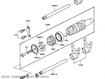 Kawasaki Kz1100d1 Spectre 1982 Usa Canada Gear Change Drum  Forks