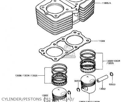 Kawasaki Kz440-a2 Ltd 1981 Usa Canada Cylinder pistons 81-83 A2 a3