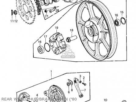 Kawasaki Kz440-a2 Ltd 1981 Usa Canada Rear Wheel hub brake chain 80