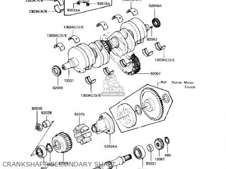 Kawasaki Kz550-h2 Gpz 1983 Usa Canada Crankshaft secondary Shaft