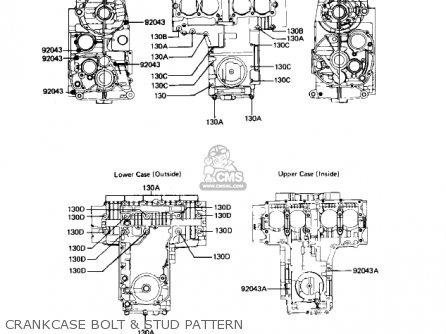 Kawasaki Kz550h2 Gpz 1983 Usa Canada Crankcase Bolt  Stud Pattern