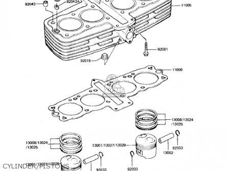 Kawasaki Kz550h2 Gpz 1983 Usa Canada Cylinder pistons