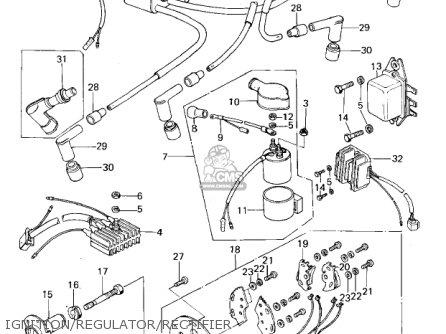 Kawasaki Kz650b3 1979 Usa Canada   Mph Kph Ignition regulator rectifier