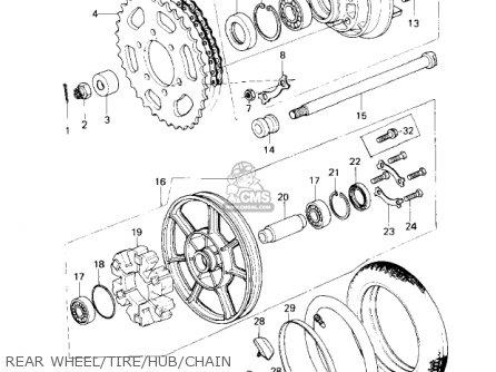 Kawasaki Kz650c1 Custom 1977 Usa Canada   Mph Kph Rear Wheel tire hub chain