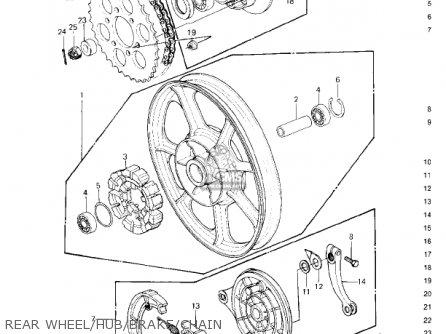 Kawasaki Kz650f1 1980 Usa Canada Rear Wheel hub brake chain