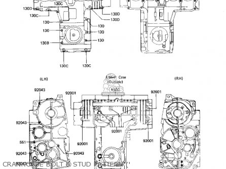 Kawasaki Kz650h3 Csr 1983 Usa Canada Crankcase Bolt  Stud Pattern