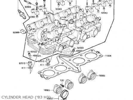 Kawasaki Kz650h3 Csr 1983 Usa Canada Cylinder Head 83 H3