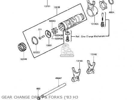 Kawasaki Kz650h3 Csr 1983 Usa Canada Gear Change Drum  Forks 83 H3