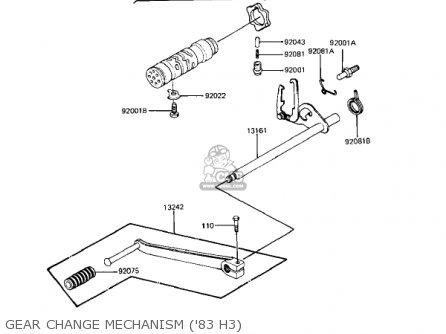 Kawasaki Kz650h3 Csr 1983 Usa Canada Gear Change Mechanism 83 H3