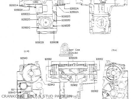 Kawasaki Kz700a1 1984 Usa California Crankcase Bolt  Stud Pattern