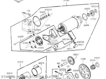 Kawasaki Kz700a1 1984 Usa California Starter Motor starter Clutch