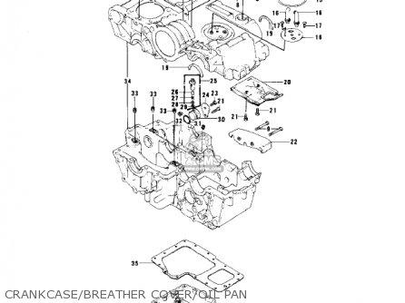 Kawasaki Kz750b1 1976 Usa Canada   Mph Kph Crankcase breather Cover oil Pan