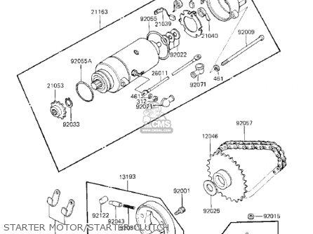 Kawasaki Kz750k1 1983 Usa Canada   Ltd Belt Drive Starter Motor starter Clutch