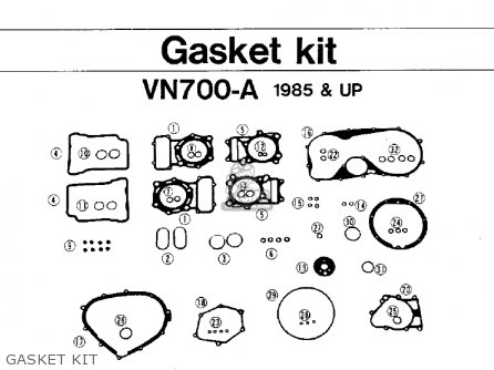Kawasaki Vn700a1 Ltd 1985 Usa California Gasket Kit