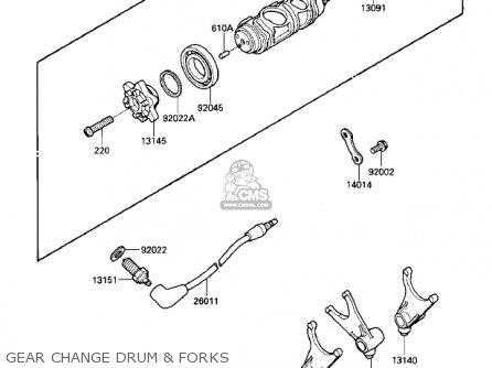 Kawasaki Vn700a1 Ltd 1985 Usa California Gear Change Drum  Forks