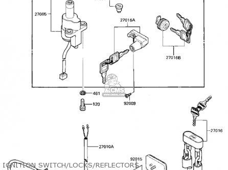 Kawasaki Vn700a1 Ltd 1985 Usa California Ignition Switch locks reflectors