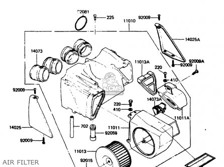 Kawasaki Zr400b1 1984 Europe Uk Fr It Wg Air Filter