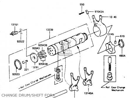 Kawasaki Zr400b1 1984 Europe Uk Fr It Wg Change Drum shift Fork