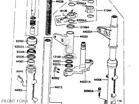 Kawasaki Zr400b1 1984 Europe Uk Fr It Wg Front Fork
