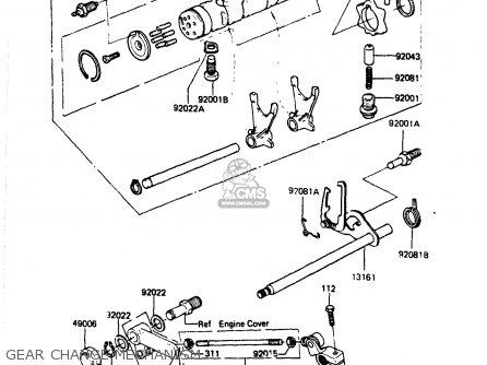 Kawasaki Zr400b1 1984 Europe Uk Fr It Wg Gear Change Mechanism
