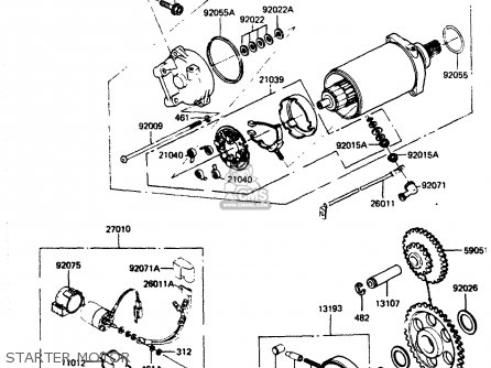 Kawasaki Zr400b1 1984 Europe Uk Fr It Wg Starter Motor