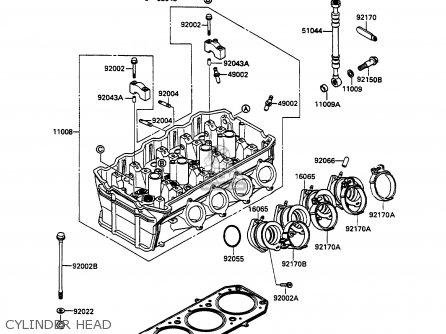 CYLINDER HEAD - ZX1100C1 ZZR1100 1990 EUROPE UK FR FG GR IT NR SD SP ST
