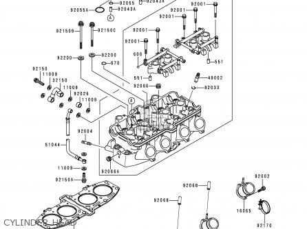 Kawasaki Zx600e4 Zzr600 1996 Europe Uk Fr Nl Fg Sp Cylinder Head