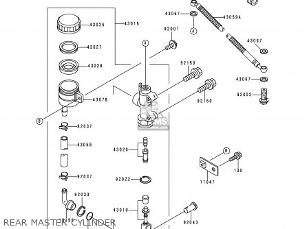 Kawasaki Zx600e4 Zzr600 1996 Europe Uk Fr Nl Fg Sp Rear Master Cylinder