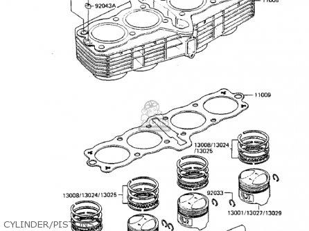 Kawasaki Zx750-a3 Gpz750 1985 Usa California Canada Cylinder pistons