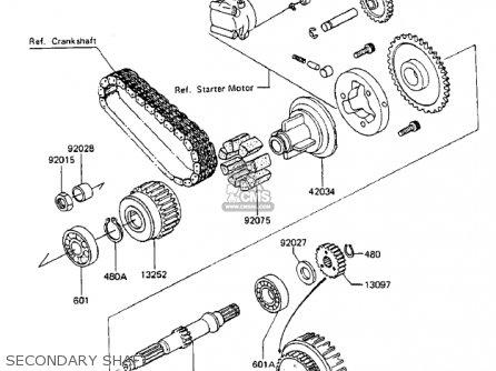 Kawasaki Zx750-a3 Gpz750 1985 Usa California Canada Secondary Shaft