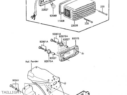 Kawasaki Zx750-a3 Gpz750 1985 Usa California Canada Taillight