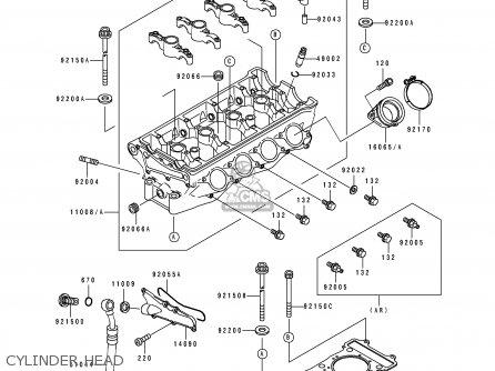 Kawasaki Zx750-k1 Zxr750r 1991 Europe Uk Fr Ar Fg It Nr Sp Cylinder Head