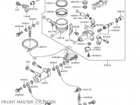 Kawasaki Zx750-k1 Zxr750r 1991 Europe Uk Fr Ar Fg It Nr Sp Front Master Cylinder