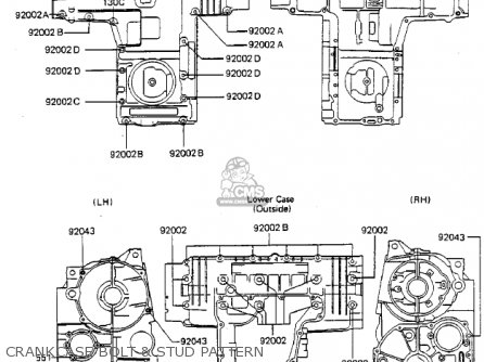 Kawasaki Zx750a2 Gpz750 1984 Usa California Canada Crankcase Bolt  Stud Pattern