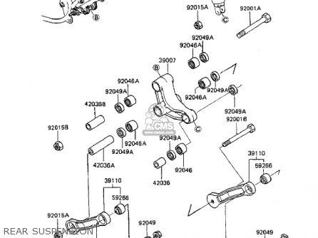 Kawasaki Zx750a2 Gpz750 1984 Usa California Canada Rear Suspension