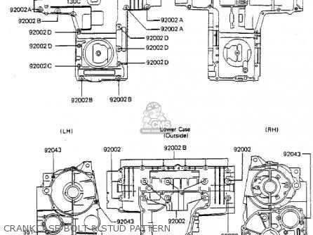 Kawasaki Zx750a3 Gpz750 1985 Usa California Canada Crankcase Bolt  Stud Pattern