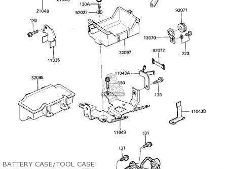 Kawasaki Zx750e2 Gpz750 Turbo 1985 Usa California Canada Battery Case tool Case