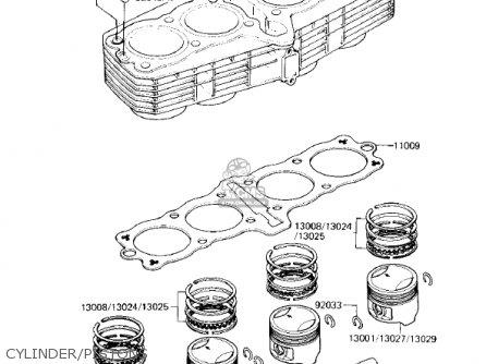 Kawasaki Zx750e2 Gpz750 Turbo 1985 Usa California Canada Cylinder pistons