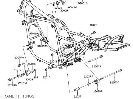 Kawasaki Zx750e2 Gpz750 Turbo 1985 Usa California Canada Frame Fittings
