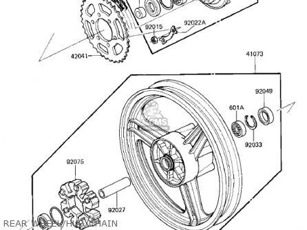 Kawasaki Zx750e2 Gpz750 Turbo 1985 Usa California Canada Rear Wheel hub chain