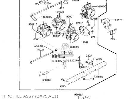 Kawasaki Zx750e2 Gpz750 Turbo 1985 Usa California Canada Throttle Assy zx750-e1