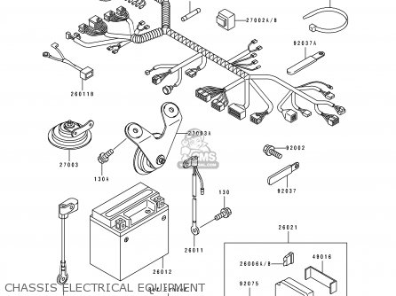 Kawasaki Zx750k1 Zxr750r 1991 Europe Uk Fr Ar Fg It Nr Sp Chassis Electrical Equipment