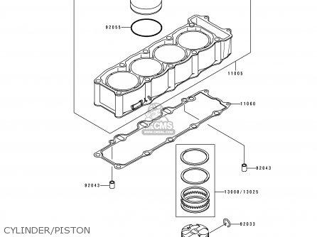 Kawasaki Zx750k1 Zxr750r 1991 Europe Uk Fr Ar Fg It Nr Sp Cylinder piston