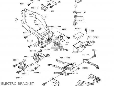 Kawasaki Zx750k1 Zxr750r 1991 Europe Uk Fr Ar Fg It Nr Sp Electro Bracket