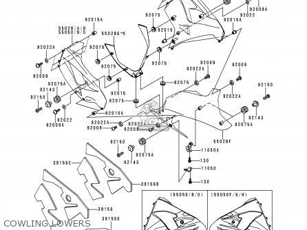 Kawasaki Zx900d1 Ninja Zx9r 1998 Fg St Cowling Lowers
