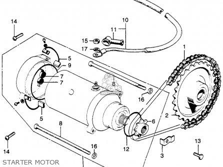 honda cb350 k4 super sport 350 1972 partscable, starter motor