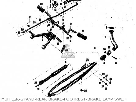 Suzuki 50 M15 M15d M12 1968 usa Muffler-stand-rear Brake-footrest-brake Lamp Switch