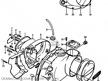 Suzuki A100-4 1978 c Crankcase Cover a100-4 k l m